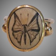 Unusual c1930 14k Gold Butterfly Ring Size 4 ¾