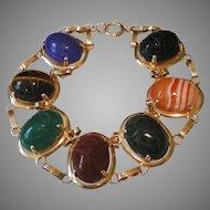 Vintage Bold 14K Gold Agate Stone Scarab Bracelet 7 ¾ Inches