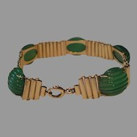 Art Deco 14k Gold Carved Onyx Bracelet