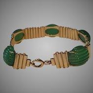Art Deco 14k Gold Carved Onyx Bracelet