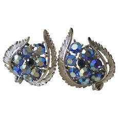 Lisner AB Rhinestone Earrings Silver Tone Clip