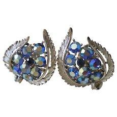 Lisner AB Rhinestone Earrings Silver Tone Clip