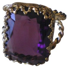 Vintage West Germany Purple Glass Stone Bold Costume Ring