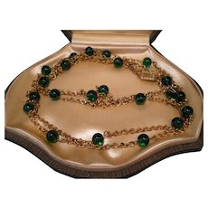 c1930 59 inch Flapper Green Glass Necklace