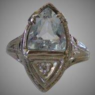 C1925 18K Gold  Aquamarine Diamond Filigree Ring