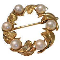 C1950 18K Gold French Pearl Pin Brooch