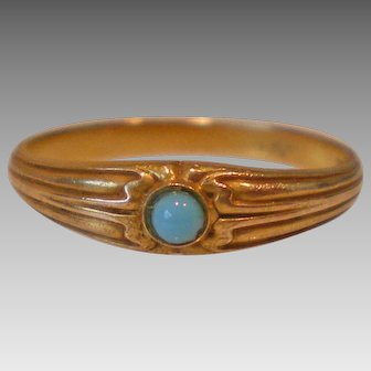 C1910 Antique 14k Gold Turquoise Ring Size 5