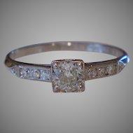 Vintage 1934 Platinum Diamond Ring .37 d.t.w. Size 5 ¾