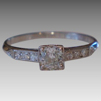 Vintage 1934 Platinum Diamond Ring .37 d.t.w. Size 5 ¾