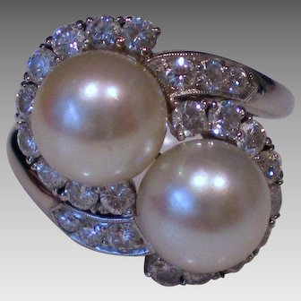 c1950 Platinum 8mm Cultured Pearl Diamond Ring
