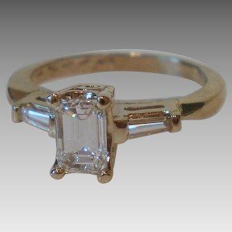 Vintage Emerald Cut Diamond 14K White Gold Ring VS F/G .80 DTW