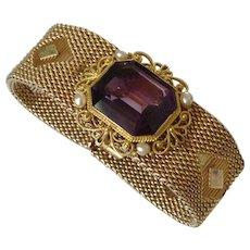 Vintage 14K Gold Amethyst Pearl Bracelet