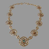 Retro c1940/50 Zircon 14K Gold Necklace 6.5 Natural Gemstone