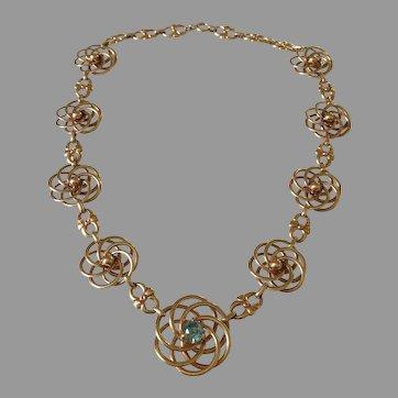 Retro c1940/50 Zircon 14K Gold Necklace 6.5 Natural Gemstone