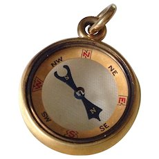 Solid Gold Antique Compass Fob Charm Fine Condition