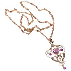 Antique 9 CT Gold Amethyst Seed Pearl Necklace