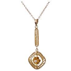 C1930 10K Yellow Gold Diamond Lavalier Necklace 10K Gold Chain