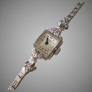 14K Solid White Gold Diamond Jules Jurgensen Wrist Watch