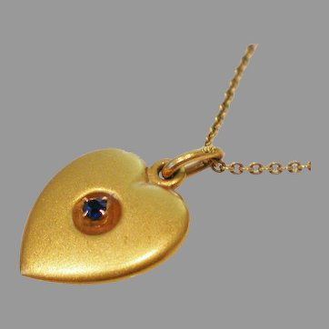 Antique 10K Gold Heart Pendant Original 10K Gold Chain