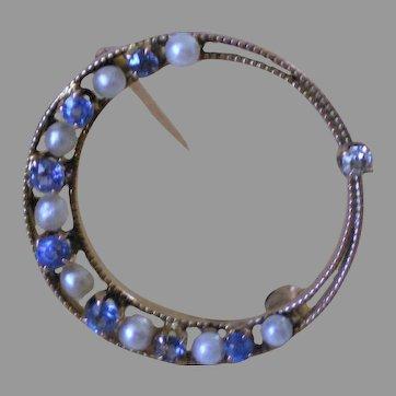 Antique 14K Gold Diamond Sapphire Natural Pearl Moon Pin