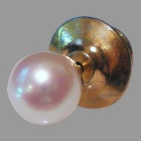 Vintage 14K Gold 7 mm Cultured White Pearl Tie Tack