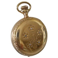 14K Gold Diamond Illinois Pocket Watch Beautiful Flowers