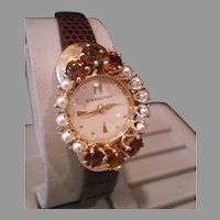 Vintage Cultured Pearl Golden Topaz 14K Swiss Wrist Watch Beauty