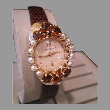 Vintage Cultured Pearl Golden Topaz 14K Swiss Wrist Watch Beauty