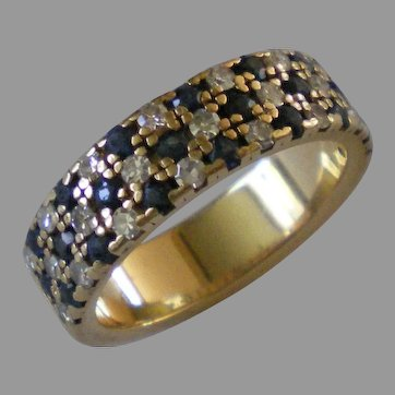 Vintage 14K Gold Diamond Sapphire Ring Size 5 ½