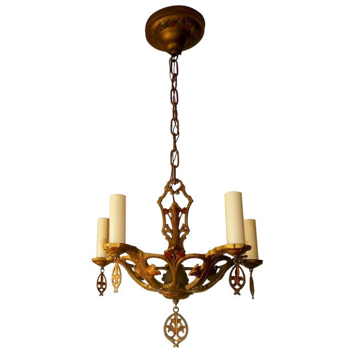 Vintage 5 Candle Gothic Style Polychrome Chandelier