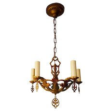 Vintage 5-candle Gothic Style Polychrome Chandelier