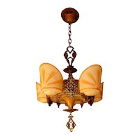 Beardslee/ R. Williamson Art Deco 4-Light Polychrome Slip Shade Chandelier