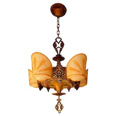 Beardslee/ R. Williamson Art Deco 4-Light Polychrome Slip Shade Chandelier