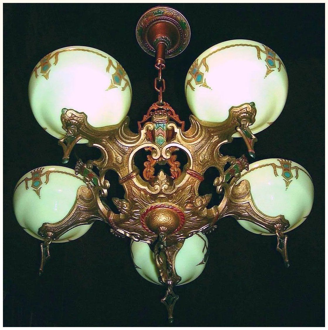 Vintage art deco slip shade chandelier by gill glass lofty vintage art deco slip shade chandelier by gill glass click to expand arubaitofo Choice Image