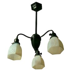 Antique Black Gas Style Fixture - White Slag Glass Shades