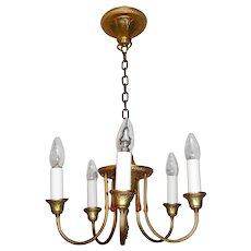 R. Williamson 5-candle Brass Chandelier.