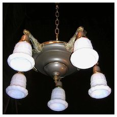 Vintage Gray Brass 5- light Chandelier Ceiling Fixture
