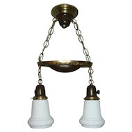 Vintage Lighting 2-light Pan Fixture with original Shades.