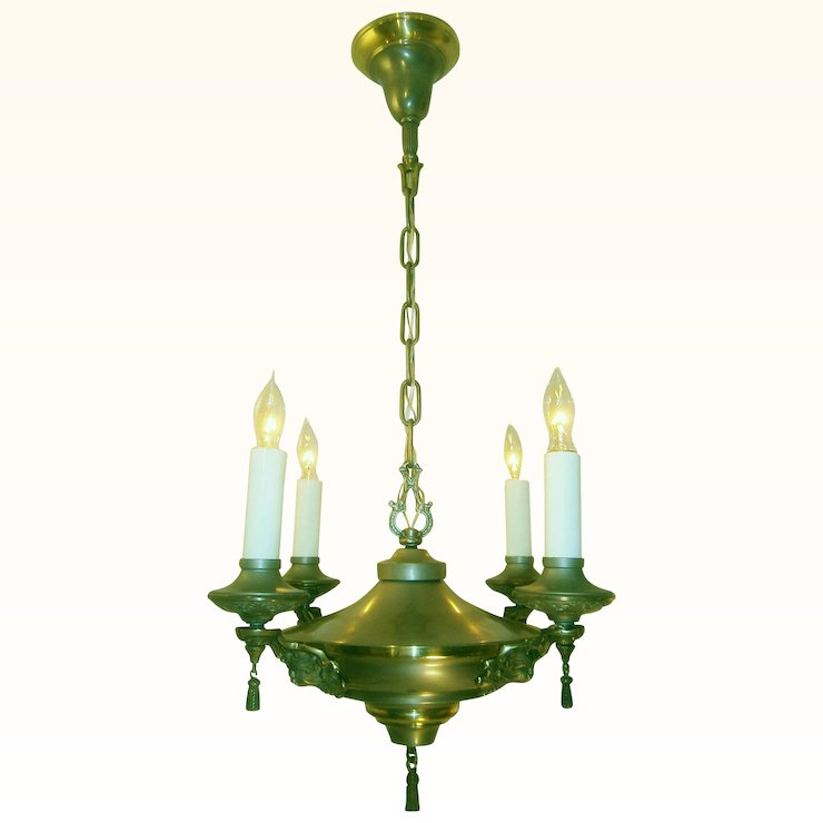Neoclassical lighting Ceiling Elegant Neoclassical Nickel And Brass 4candle Chandelier Lofty Lighting Ruby Lane Auctions Catawiki Elegant Neoclassical Nickel And Brass 4candle Chandelier Lofty