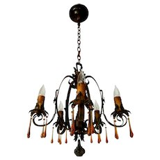Moe Bridges 5-candle Wrought Iron Chandelier with Amber Drops
