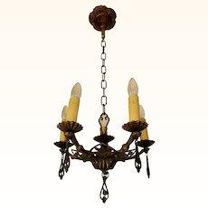Vintage Bronze Art Deco Starburst Chandelier