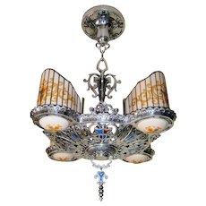 R. Williamson Art Deco Four Light Chandelier