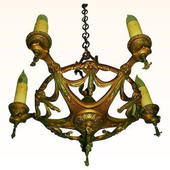 All Brass Virden 5-candle Chandelier