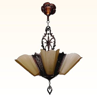 Virden Bronze 5-light slip shade Chandelier