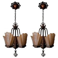 Pair Lightolier Art Deco Slip Shade Chandeliers