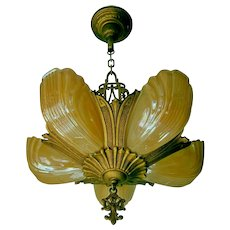 Vintage Markel 5-light Slip Shade Chandelier Light Fixture