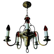 Vintage Arts & Crafts Hammered Style Chandelier by S & A