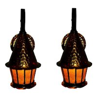 Pair Copper Storybook Style  Porch Lights
