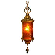 Vintage Spanish Revival Crackle Glass Lantern