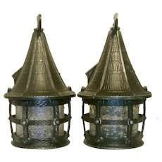Pair Vintage Cottage Style Storybook Lantern Porch Lights